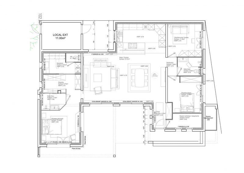 Architecture intérieure pour une maison sur plan